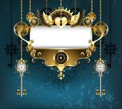 Symmetrical steampunk banner on blue background. Symmetrical banner, decorated with pattern and golden gears on turquoise background. Steampunk style Royalty Free Stock Photography