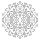 Symmetrical circular pattern mandala. Coloring page for adults stock illustration