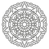 Symmetrical circular pattern mandala. Decorative Oriental pattern. Coloring page for adults vector illustration