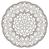 Symmetrical circular pattern mandala. Oriental pattern. Coloring page for adults. Turkish, Islamic, Oriental ornament vector illustration
