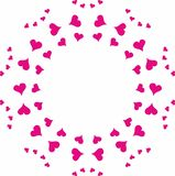 Symmetrical circular pattern of pink hearts. Different sizes. Isolated vector texture background image vector illustration