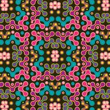Colorful pink, purple and blue symmetrical pattern over black background. Symmetrical colorful geometric repeating pattern for cheerful textile, fabric royalty free illustration