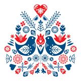 Symmetrical composition of ethnic elements. The Nordic spring set for design. Flowers, birds and leaves vector illustration