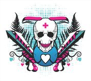 Symmetrical composition with a skull and arrows Stock Photo
