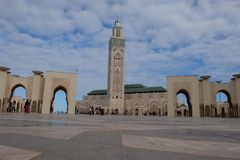 Symmetrical exterior of the Mosque of Hassan II stock photography