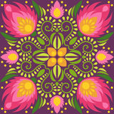 Symmetrical floral tile design. Floral vector seamless pattern. Bright red flowers on dark background Stock Images