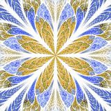 Symmetrical fractal flower in stained-glass window style. Blue a Royalty Free Stock Image