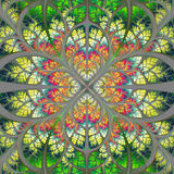 Symmetrical fractal pattern in green,  yellow and orange Royalty Free Stock Images