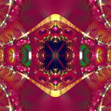 Symmetrical fractal pattern with shiny strips. Collection rhinestones Royalty Free Stock Photos