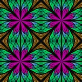 Symmetrical fractal pattern in stained-glass window style. Purpl. E, brown and green palette. On black Royalty Free Stock Photos