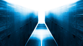 Symmetrical futuristic modern server room in the data center with bright light Royalty Free Stock Photos
