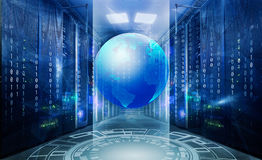 Symmetrical futuristic modern server room in the data center wit Holographic 3d planet earth against blue abstract Royalty Free Stock Photos
