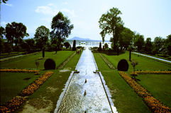 A symmetrical garden with extended view Royalty Free Stock Photos