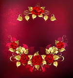 Symmetrical garland of gold and red roses Royalty Free Stock Image