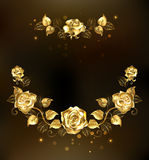 Symmetrical garland of gold roses Stock Images
