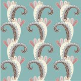 Symmetrical hand drawn blue, brown, pink, beige paisley pattern on blue, pastel color Royalty Free Stock Photo