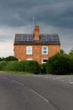 Symmetrical House Solar Panels Rain Cloud Stock Photos