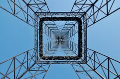 Symmetrical industrial tower construction Royalty Free Stock Images