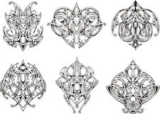 Symmetrical knot tattoo designs. Set of  images Stock Photo