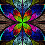 Symmetrical multicolor fractal flower in stained glass style. Co. Mputer generated graphics Stock Photos