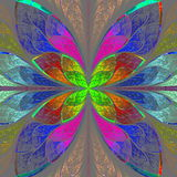 Symmetrical multicolor fractal flower in stained glass style. Royalty Free Stock Images