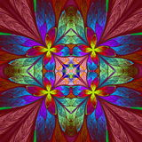 Symmetrical multicolored flower pattern in stained-glass window Stock Images