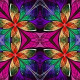 Symmetrical multicolored pattern in stained-glass window style. Royalty Free Stock Photography