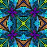 Symmetrical multicolored pattern in stained-glass window style. Royalty Free Stock Images