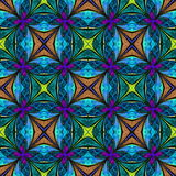 Symmetrical multicolored pattern in stained-glass window style. Stock Images