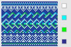 Symmetrical ornament cross stitch four colors for needlework. Collection Royalty Free Stock Image
