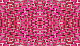 Symmetrical ornament of hand drawn brick wall texture. stock images