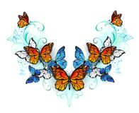 Symmetrical pattern of blue and orange butterflies Royalty Free Stock Photography