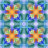 Symmetrical pattern of the flower petals. Blue and orange palett Stock Photos