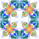 Symmetrical pattern of the flower petals. Blue and orange palett Stock Photography