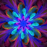 Symmetrical Pattern In Stained-glass Window Style. Blue And Purple Palette. Computer Generated Graphics. Stock Images