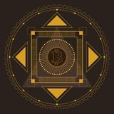 Bitcoin Symmetrical Pattern Gold. Symmetrical pattern in line-art style with a bitcoin symbol in the center, gold and dark-brown palette Stock Photos
