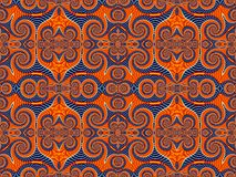 Symmetrical Pattern from Spiral fractal. Blue and orange palette Royalty Free Stock Images