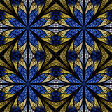 Symmetrical pattern in stained-glass window style. Blue and beig Stock Images