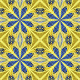Symmetrical pattern in stained-glass window style. Blue and beig Stock Photo