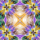 Symmetrical pattern in stained-glass window style. Blue, green a. Nd yellow palette. Computer generated graphics Royalty Free Stock Photo