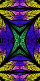 Symmetrical pattern in stained-glass window style. Green, blue a Stock Images