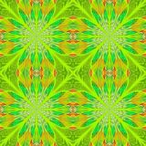 Symmetrical pattern in stained-glass window style. Green palette Stock Image