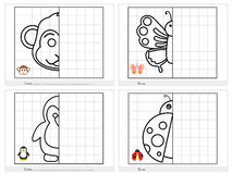 Symmetrical picture - Worksheet for education Royalty Free Stock Images