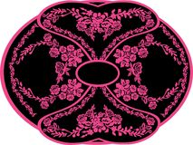 Symmetrical pink pattern with flowers Royalty Free Stock Image