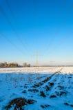 Symmetrical Pylon upwards against blue winter sky Royalty Free Stock Images