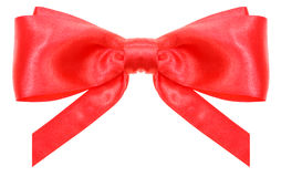 Symmetrical red bow with vertically cut ends Stock Images