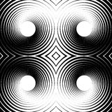 Symmetrical repeatable pattern with concentric circles, rings. Circular geometric pattern. Black and white, monochrome background - Royalty free vector Stock Image