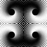 Symmetrical repeatable pattern with concentric circles, rings. Circular geometric pattern. Black and white, monochrome background - Royalty free vector Stock Photos