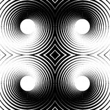 Symmetrical repeatable pattern with concentric circles, rings. Circular geometric pattern. Black and white, monochrome background - Royalty free vector Royalty Free Stock Photos