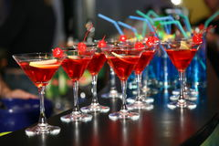 Symmetrical rows of cocktail glasses on the bar. Royalty Free Stock Photography